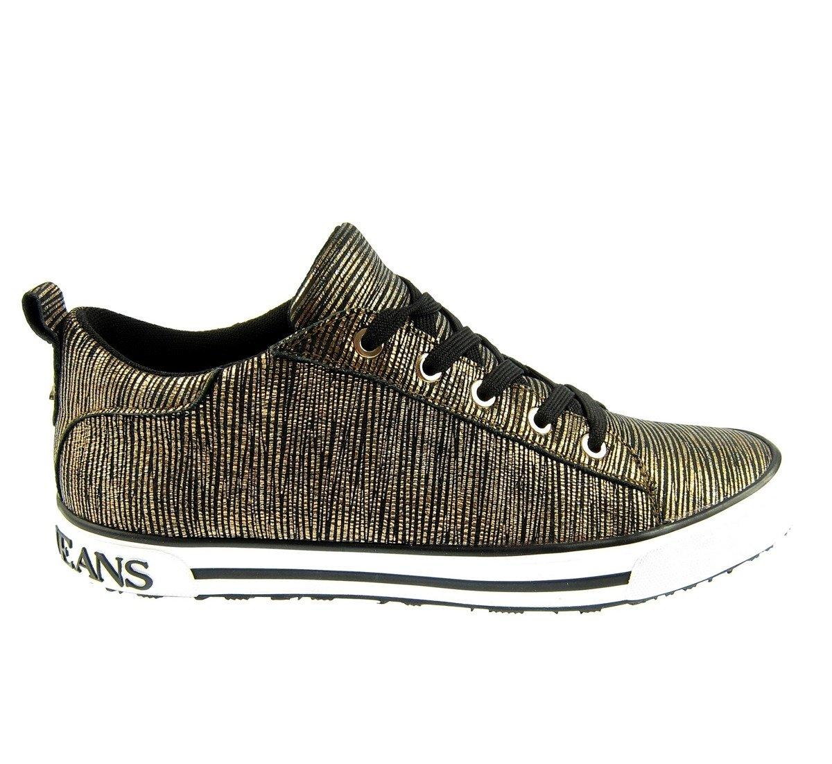 buy online 42644 281a5 ARMANI JEANS 925907 Damen Women Sneaker Schuhe Shoes Gold Rust Brown