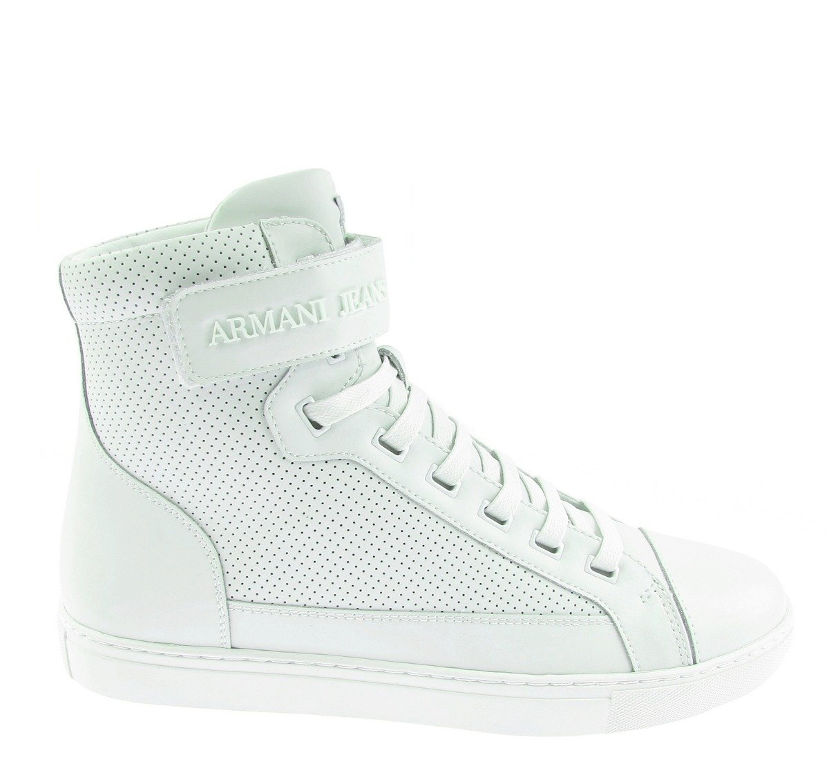 bcbcb8a6a53c63 ARMANI JEANS 935042 Herren Men Hi-Top Sneakers Schuhe Shoes Weiß White Leder  Click to zoom ...