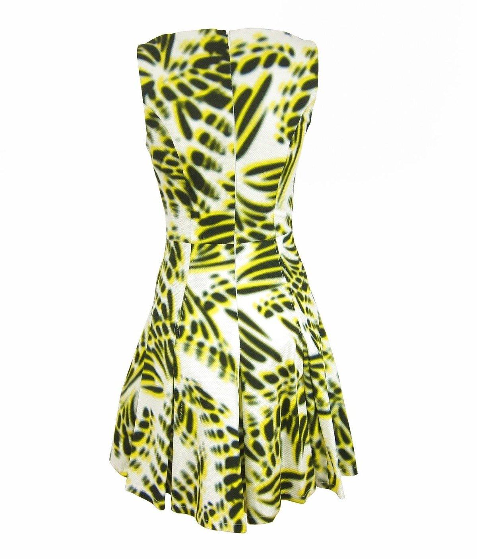 byblos d2blb425 damen women kleid dress kurz tailliert weiß gelb white  yellow