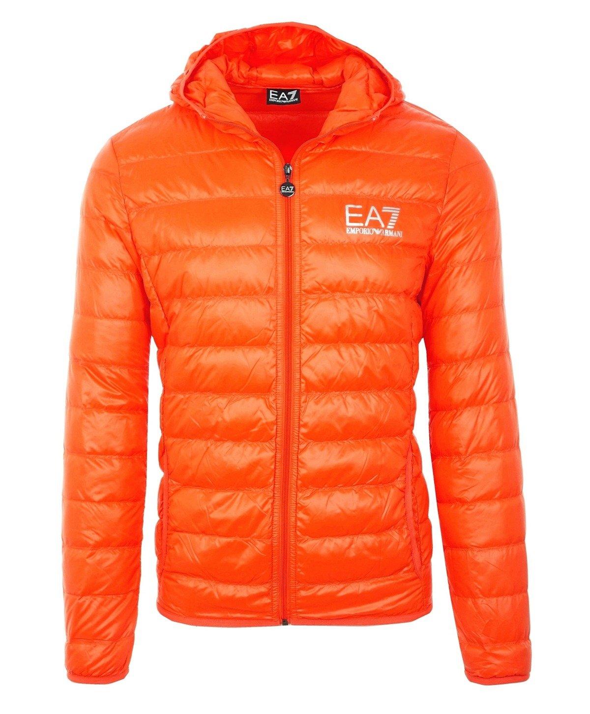 dd79d4e036fa2b EMPORIO ARMANI EA7 Herren Men Daunen Down Steppjacke Jacket Kapuze Orange  Click to zoom ...