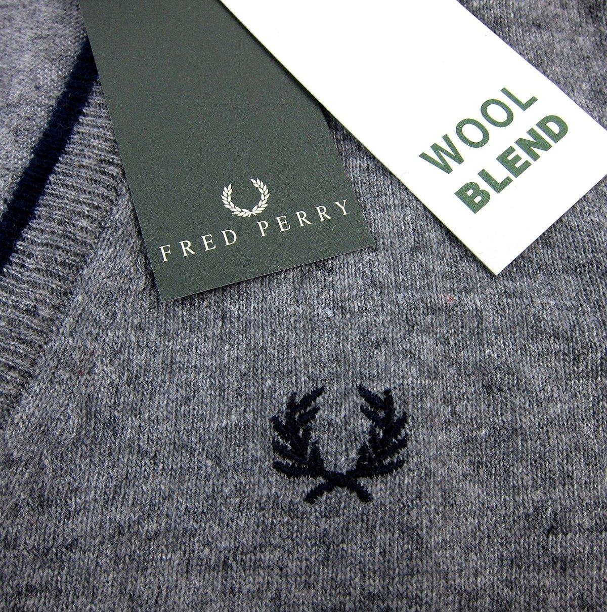 e7f3ecdf5117 FRED PERRY Herren Men Cardigan Strickjacke Pullover Made in Italy Grau Grey