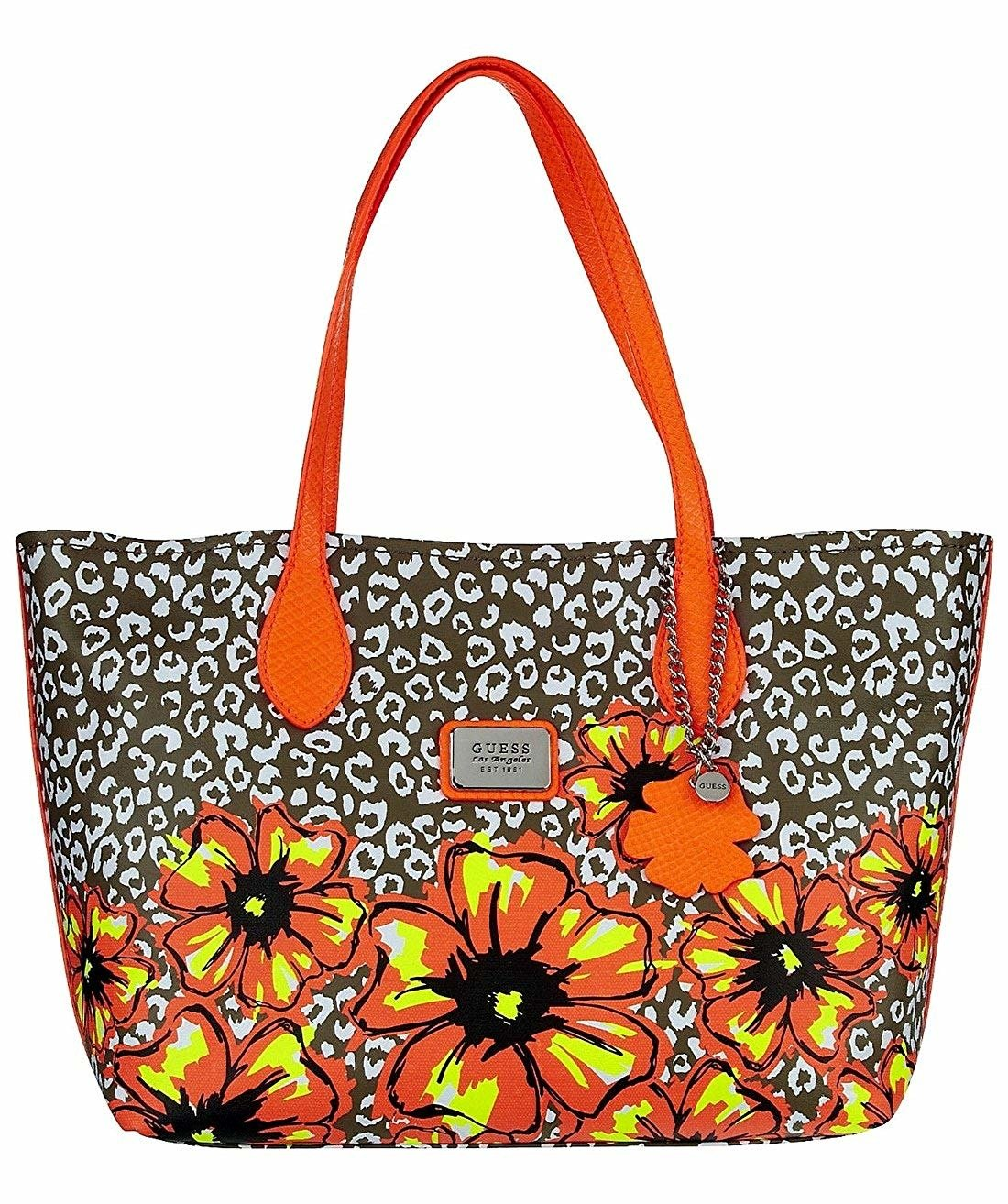 c575b471ea554f GUESS Ivian Leopard Medium Tote Damen Women Tasche Bag Blumen Sommer  Multicolor