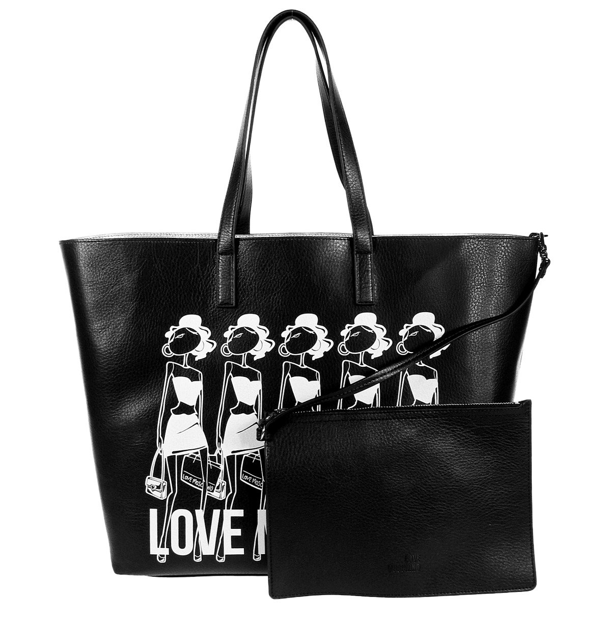 love moschino jc4308pp01kt0000 damen women shopper bag tasche purse schwarz schwarz damen. Black Bedroom Furniture Sets. Home Design Ideas