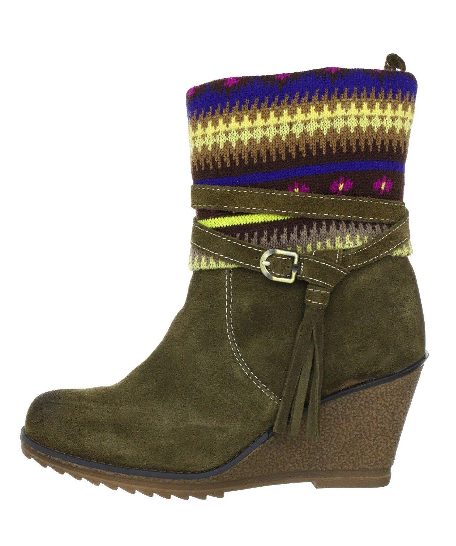 TAMARIS Damen Schuhe Halbstiefel Stiefeletten Keilstiefelette Boots Braun