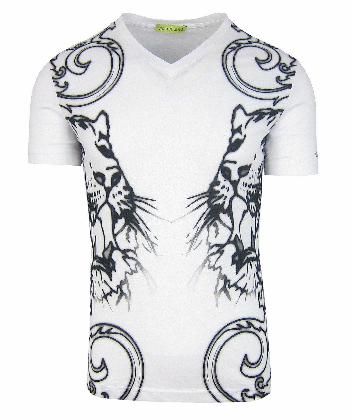 0417ca7d25f944 VERSACE JEANS B3GNA782 Herren Men T-Shirt Kurzarm Weiß White Tiger Motiv  Click to zoom ...