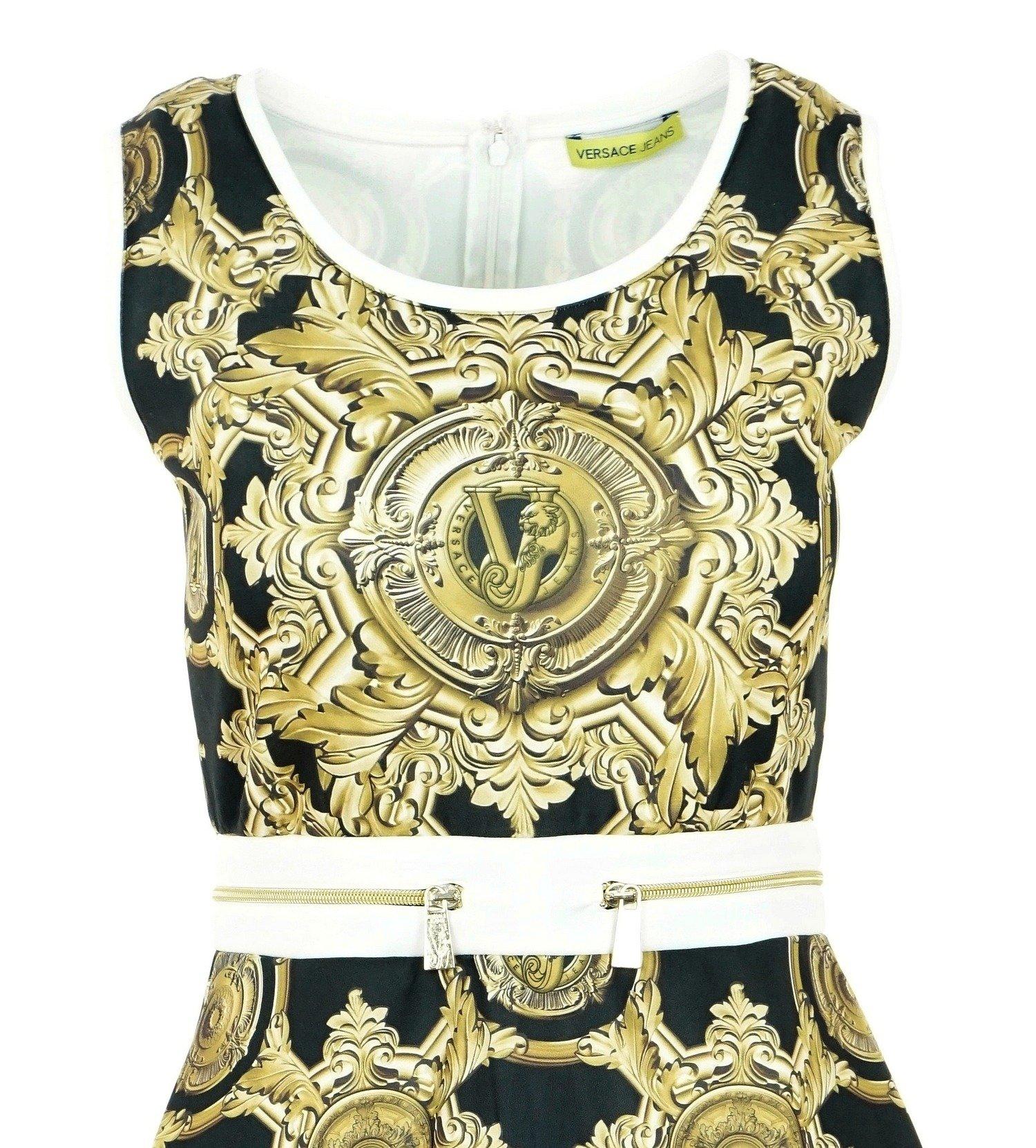 Kleid Schwarz Gold