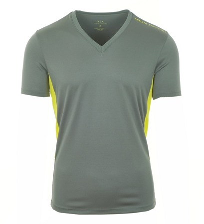 ARMANI EXCHANGE Herren Men Kurzarm T-Shirt V-Neck Grau