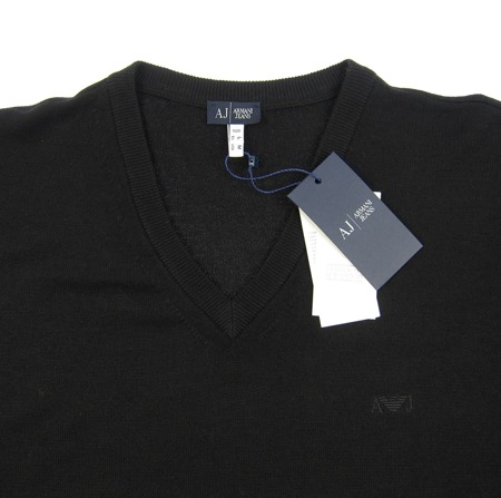 ARMANI JEANS 06W75 Herren Men Pullover Strick Sweat Schwarz Black Laine Wolle
