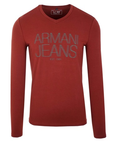 ARMANI JEANS 6X6T11 Herren Men Langarmshirt Sweat Longsleeve V-Neck Bordo