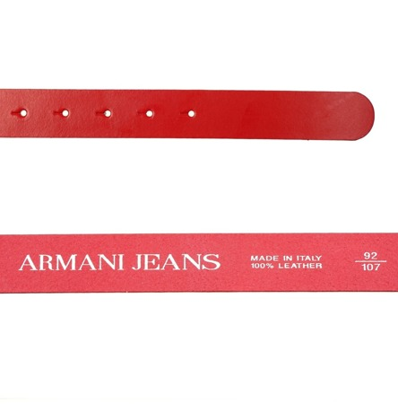 ARMANI JEANS AJ Damen Women Gürtel Belt Leder Leather Made in Italy Rot Red