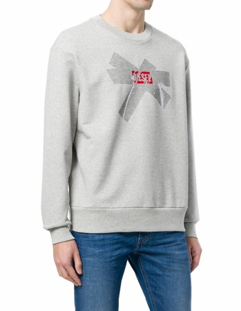 DIESEL S-BAY-SA Herren Men Pullover Sweatshirt Oversized Look Grau