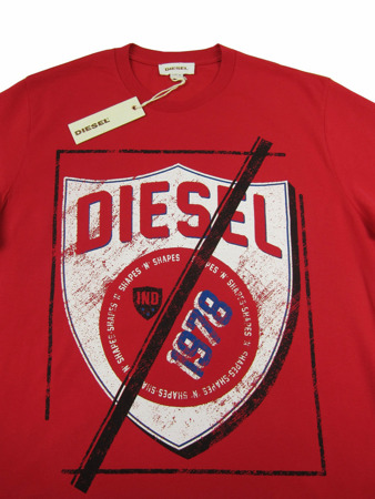 DIESEL T-Shielded Herren Men T-Shirt Kurzarm Rot Red