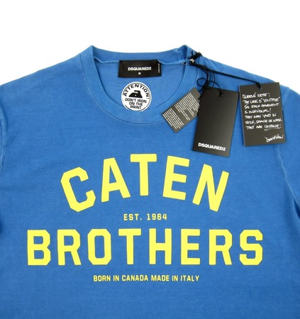 DSQUARED2 Caten Brothers Herren Men T-Shirt Kurzarm Blau Blue Made in Italy