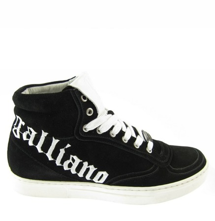 JOHN GALLIANO Herren Men Schuhe High Top Sneaker Shoes Leder Leather Schwarz