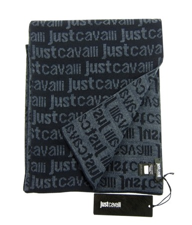 JUST CAVALLI  Herren Men Luxuriöse Schal Scarf Winter Dunkelblau Navy Blue
