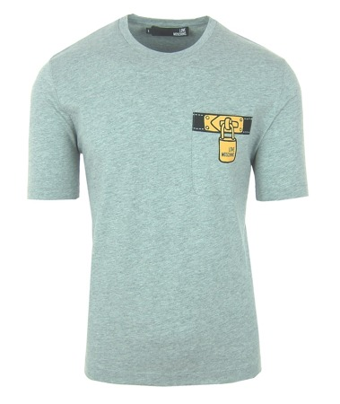 LOVE MOSCHINO Herren Men T-Shirt Kurzarm Logo Grau Grey