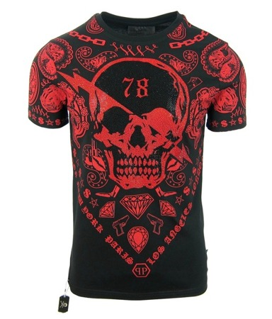 "PHILIPP PLEIN ""Paris Ghetto"" Herren Men Luxury T-Shirt Schwarz Rot Totenkopf"