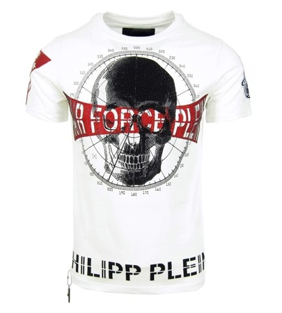 "PHILIPP PLEIN ""Squeeze it"" Herren Men Luxury T-Shirt #Air Force Plein Weiß White"