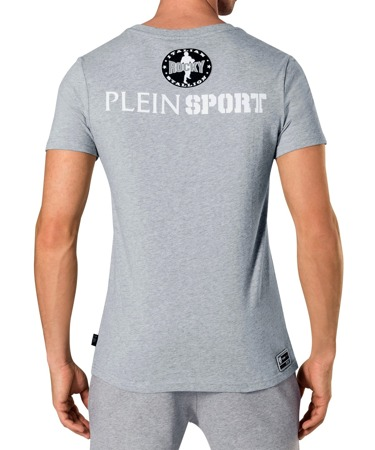 PLEIN SPORT Kurty Herren Men Luxury T-Shirt Grau Grey Rocky Motiv