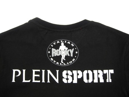 PLEIN SPORT Rock Herren Men Luxury T-Shirt Schwarz Black Rocky Motiv