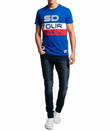SUPERDRY M10MX036 Herren Men T-Shirt Mazarine Blue Velodrome Tour Blau Logo