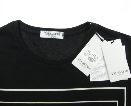 TRUSSARDI Collection Fiscaglia Herren Men T-Shirt Kurzarm Schwarz Black