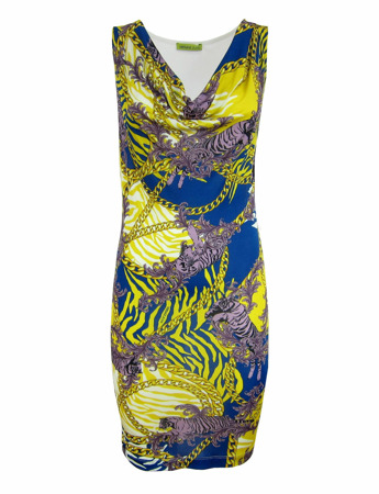 VERSACE JEANS D2HLB489 Damen Women Sommer Kleid Dress Bunt Weiß